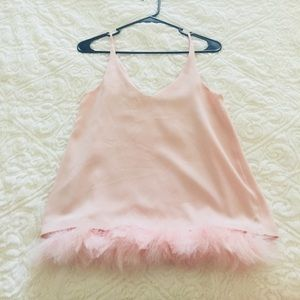 💕🍾PINK FLUFFY TANK TOP RIVER ISLAND 🌴